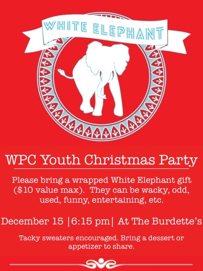 youth white elephant christmas party december 15 westminster epc